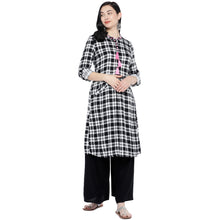 Load image into Gallery viewer, White & Black Checked Tunic-4