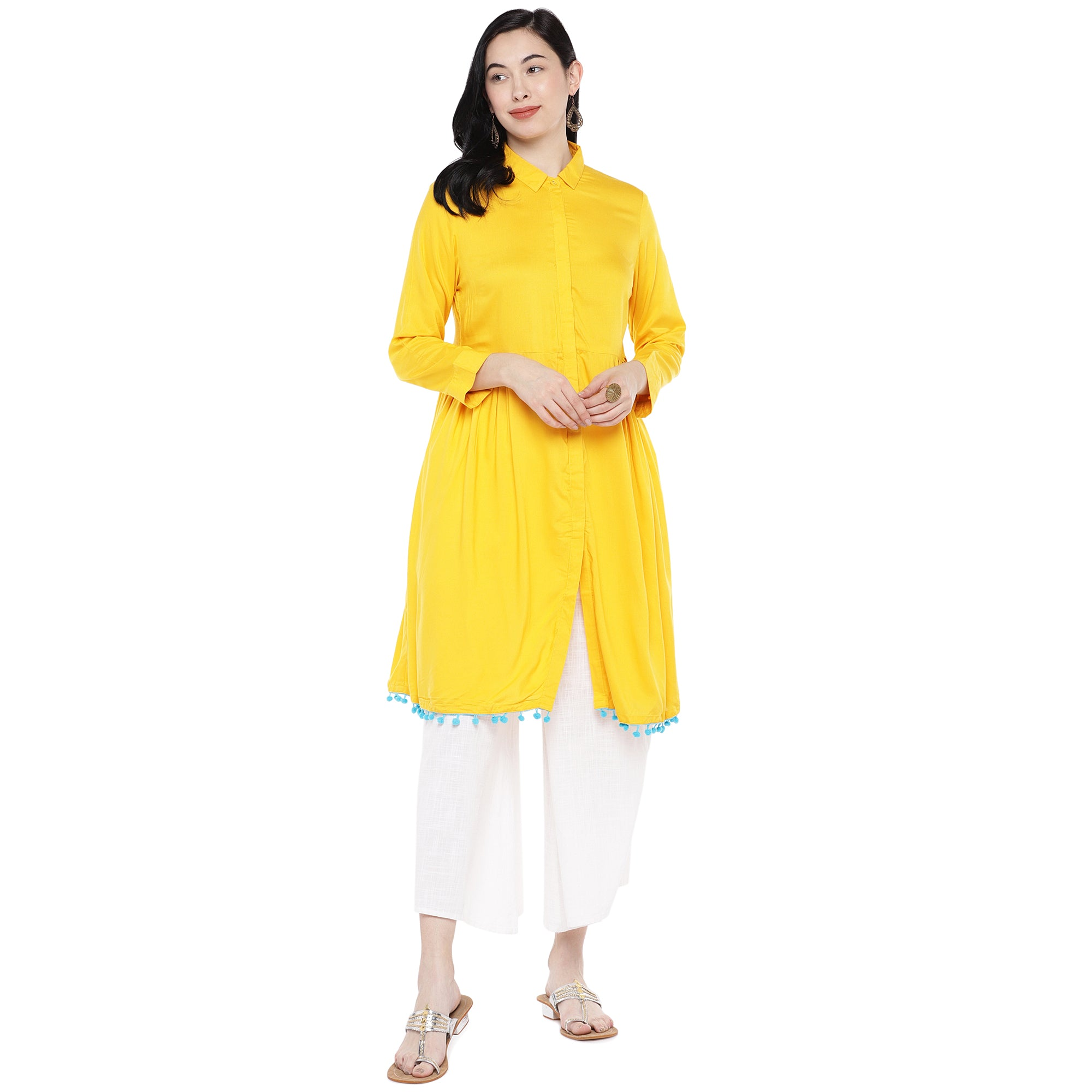 Yellow Solid Tunic-4