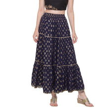 Load image into Gallery viewer, Globus Navy Blue Printed Skirt-1