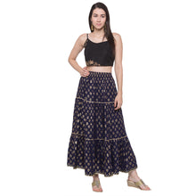 Load image into Gallery viewer, Globus Navy Blue Printed Skirt-4