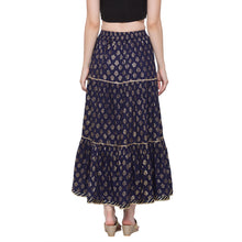 Load image into Gallery viewer, Globus Navy Blue Printed Skirt-3