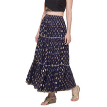 Load image into Gallery viewer, Globus Navy Blue Printed Skirt-2