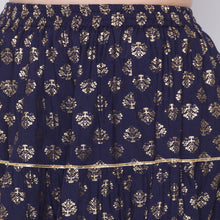 Load image into Gallery viewer, Globus Navy Blue Printed Skirt-5