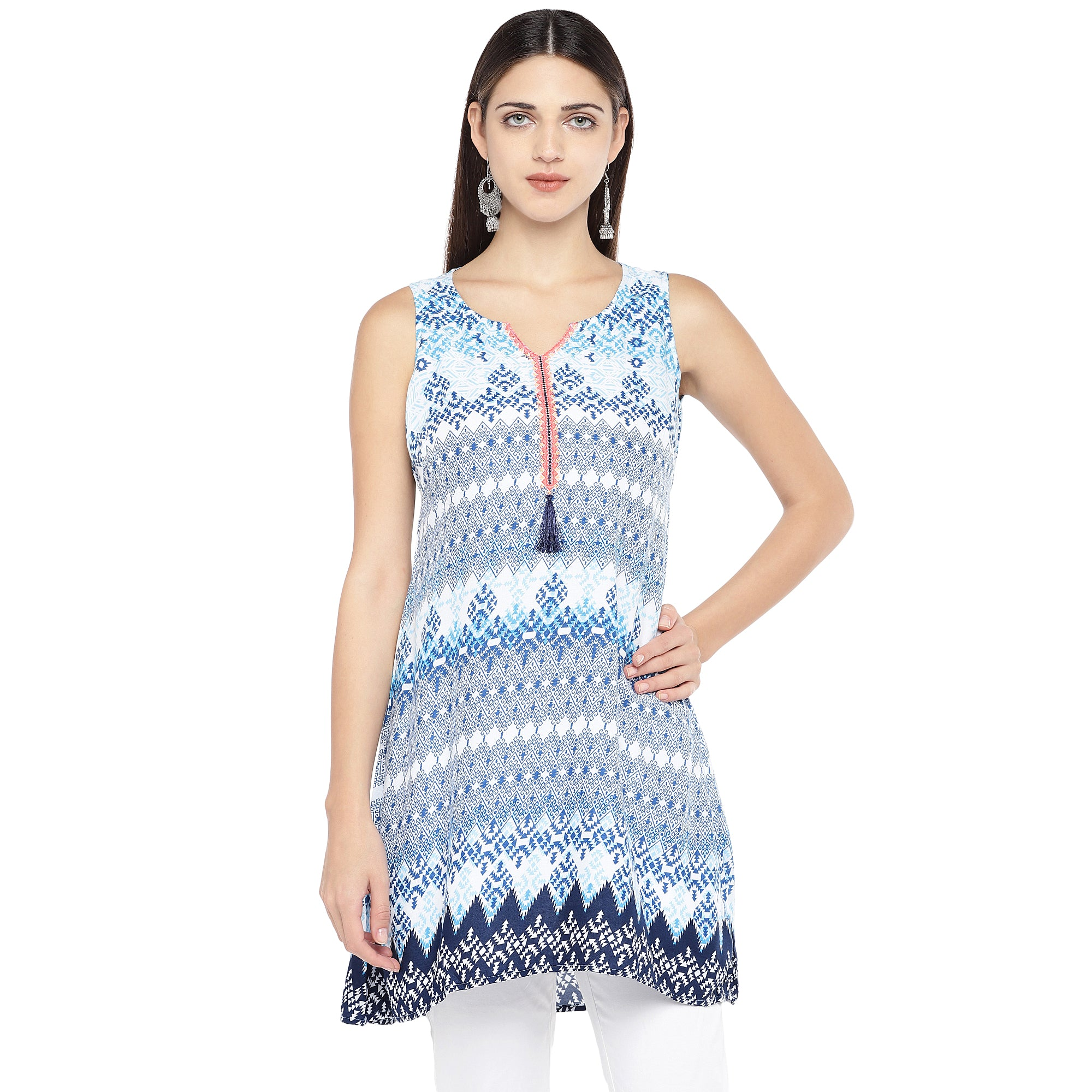Blue Printed Tunic-1