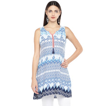Load image into Gallery viewer, Blue Printed Tunic-1