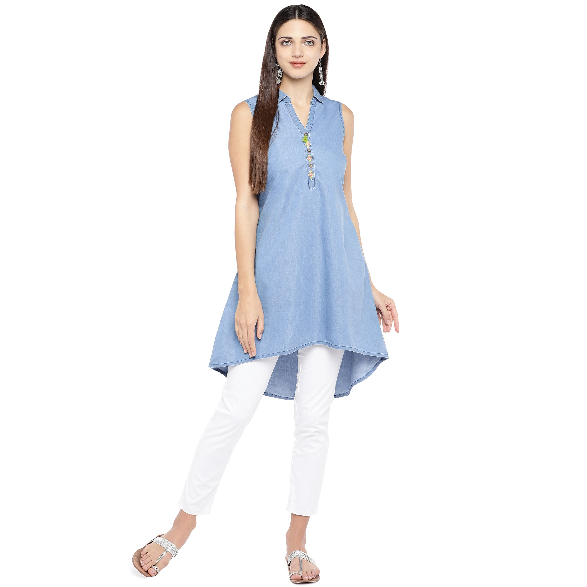 Blue Solid Longline High-Low Top-4