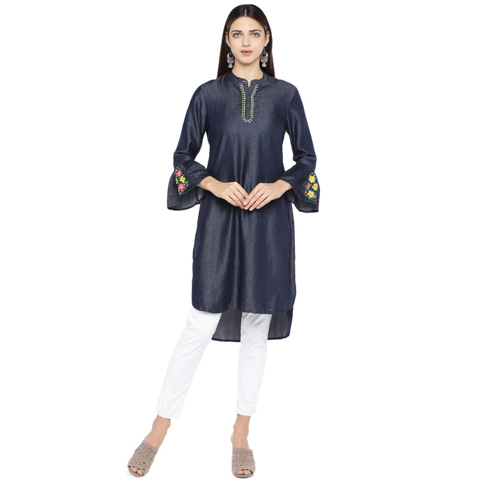 Navy Blue Solid Tunic-1