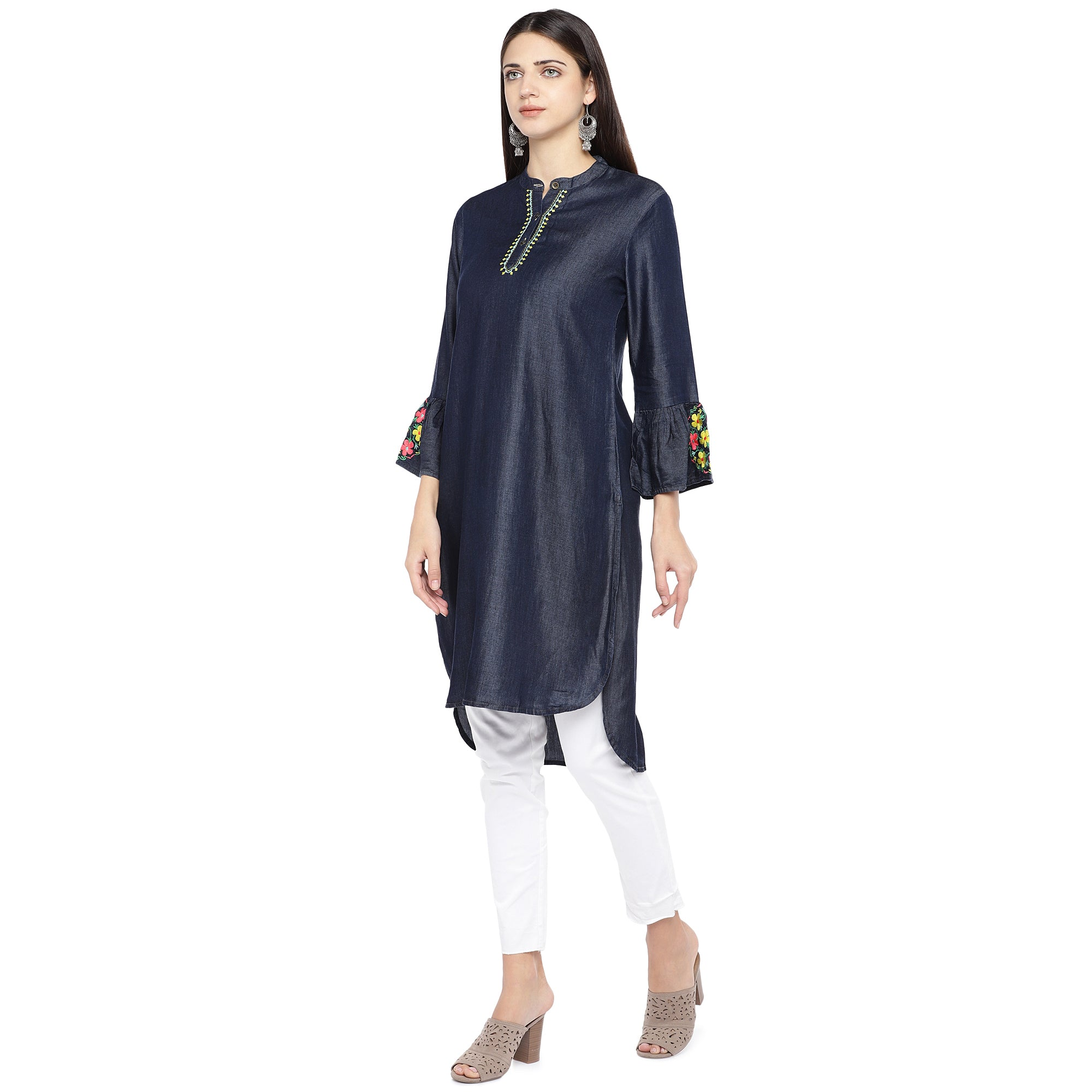 Navy Blue Solid Tunic-2