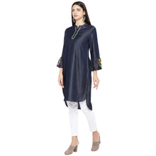 Load image into Gallery viewer, Navy Blue Solid Tunic-2