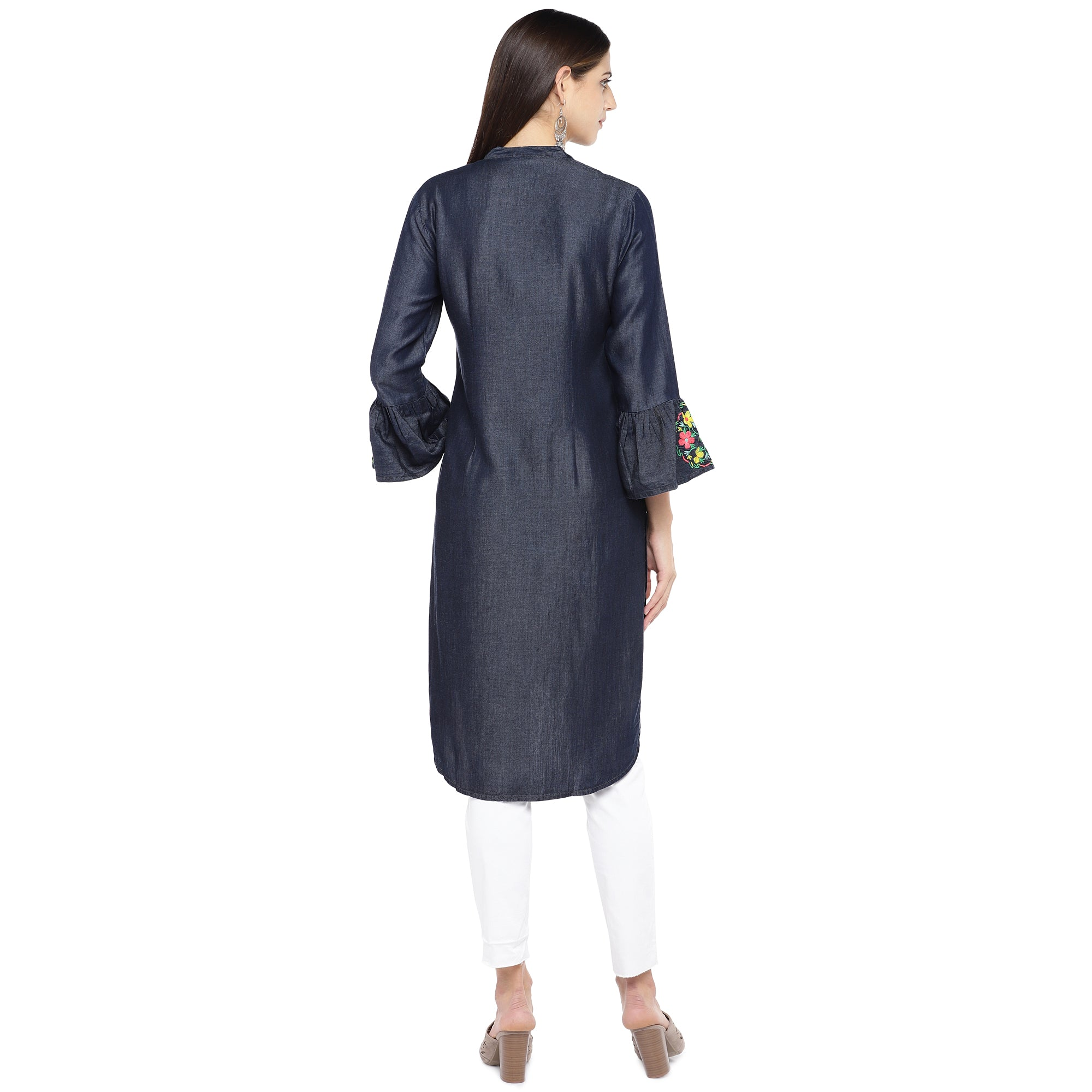 Navy Blue Solid Tunic-3
