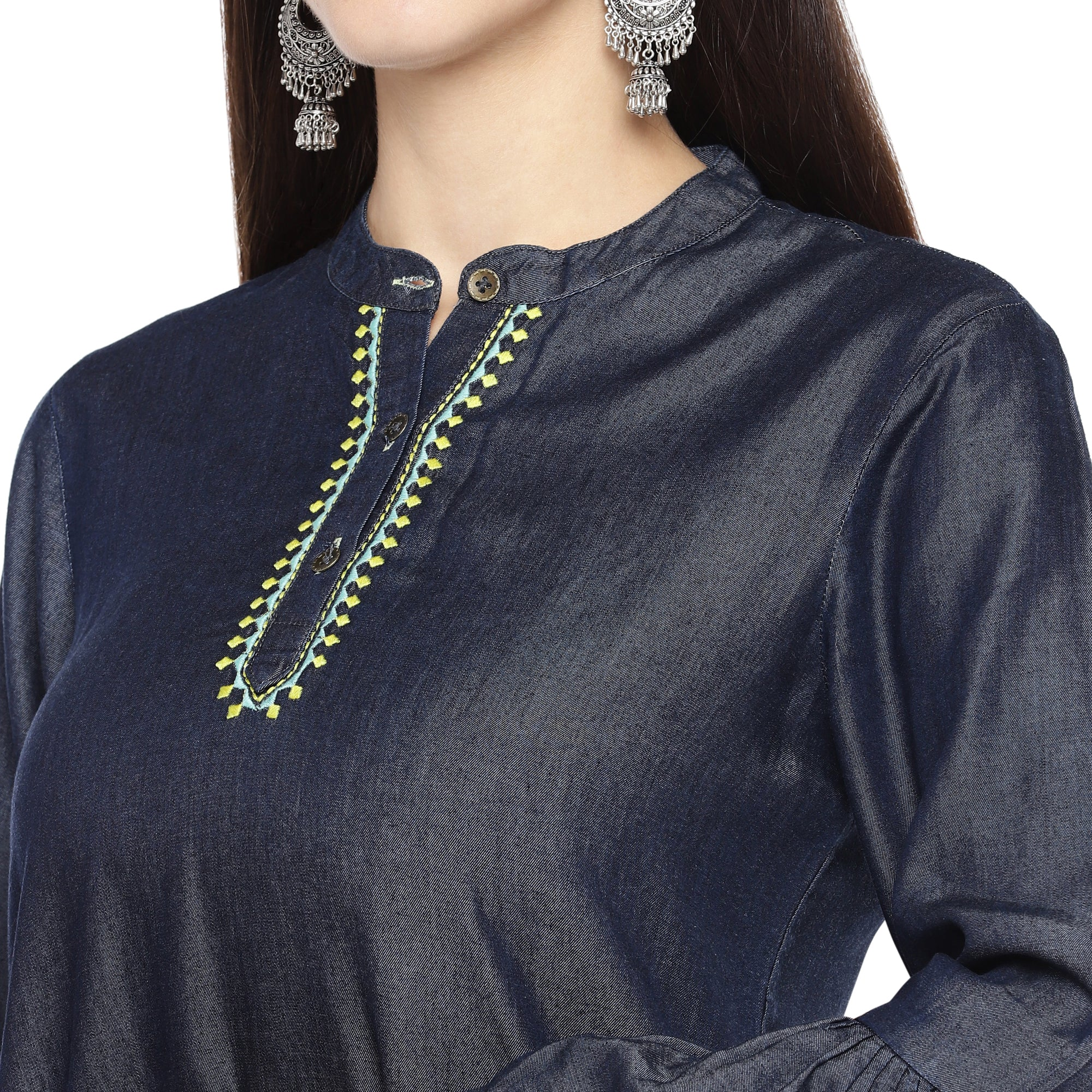 Navy Blue Solid Tunic-5