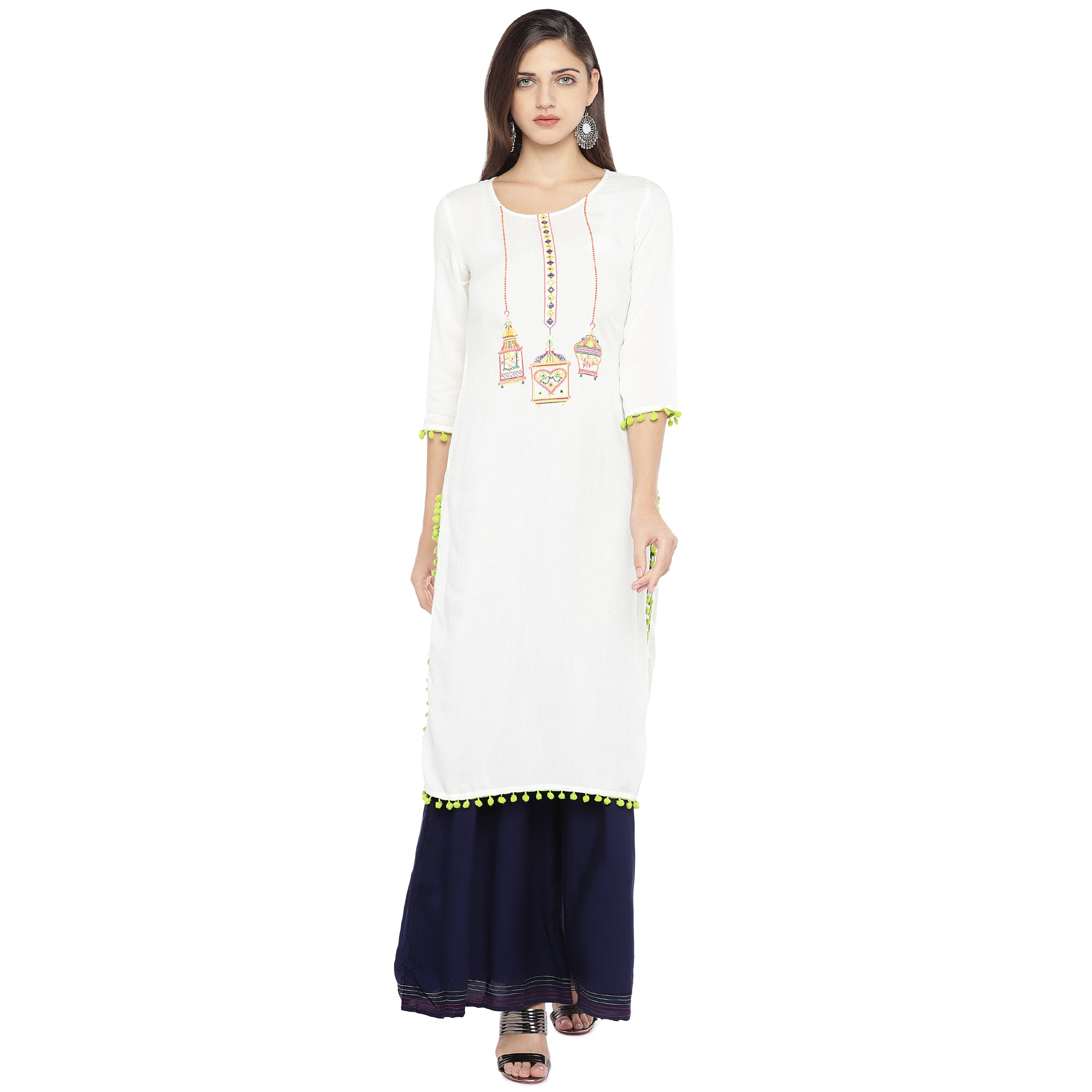 White Embroidered Straight Kurta-1