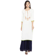 Load image into Gallery viewer, White Embroidered Straight Kurta-1