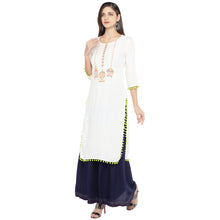 Load image into Gallery viewer, White Embroidered Straight Kurta-2