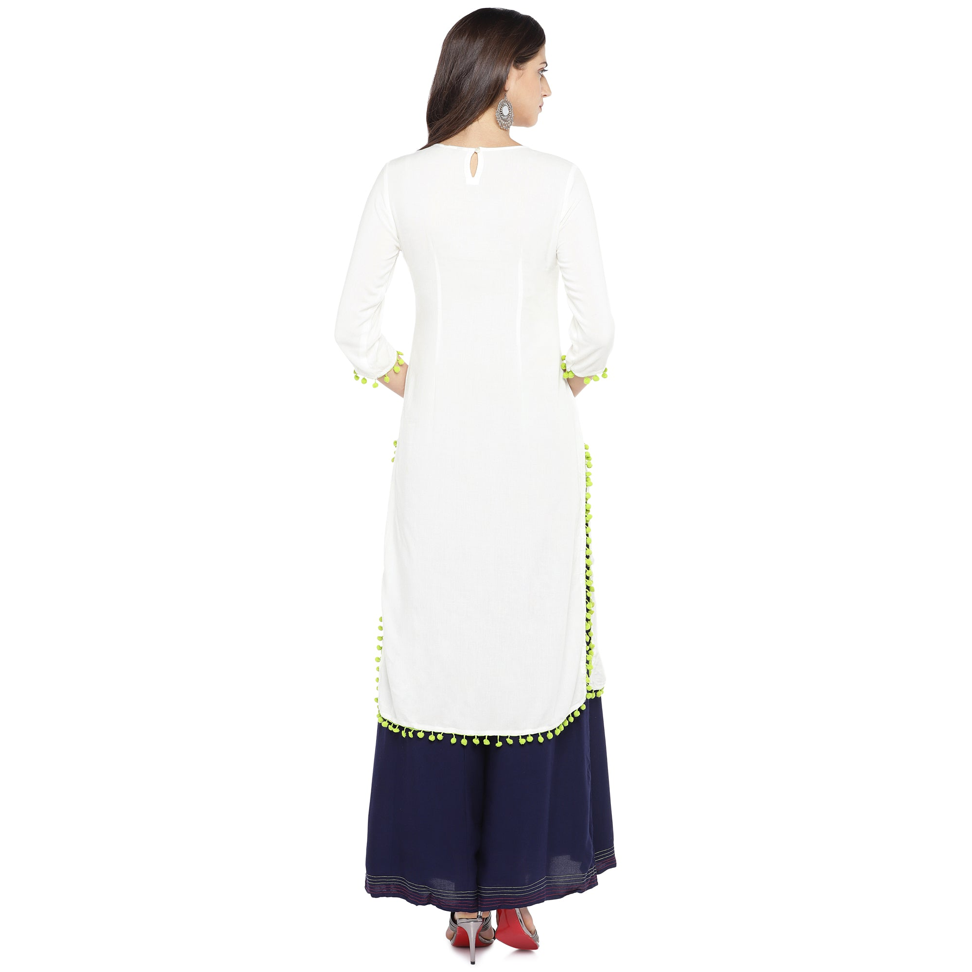 White Embroidered Straight Kurta-3