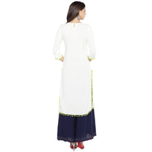 Load image into Gallery viewer, White Embroidered Straight Kurta-3