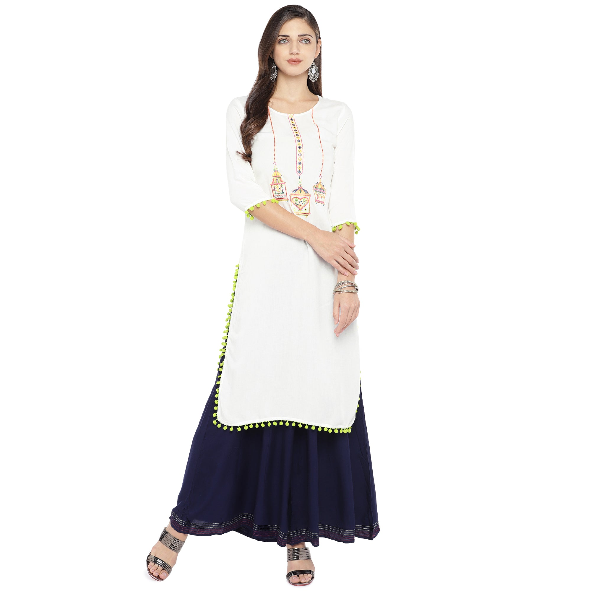 White Embroidered Straight Kurta-4
