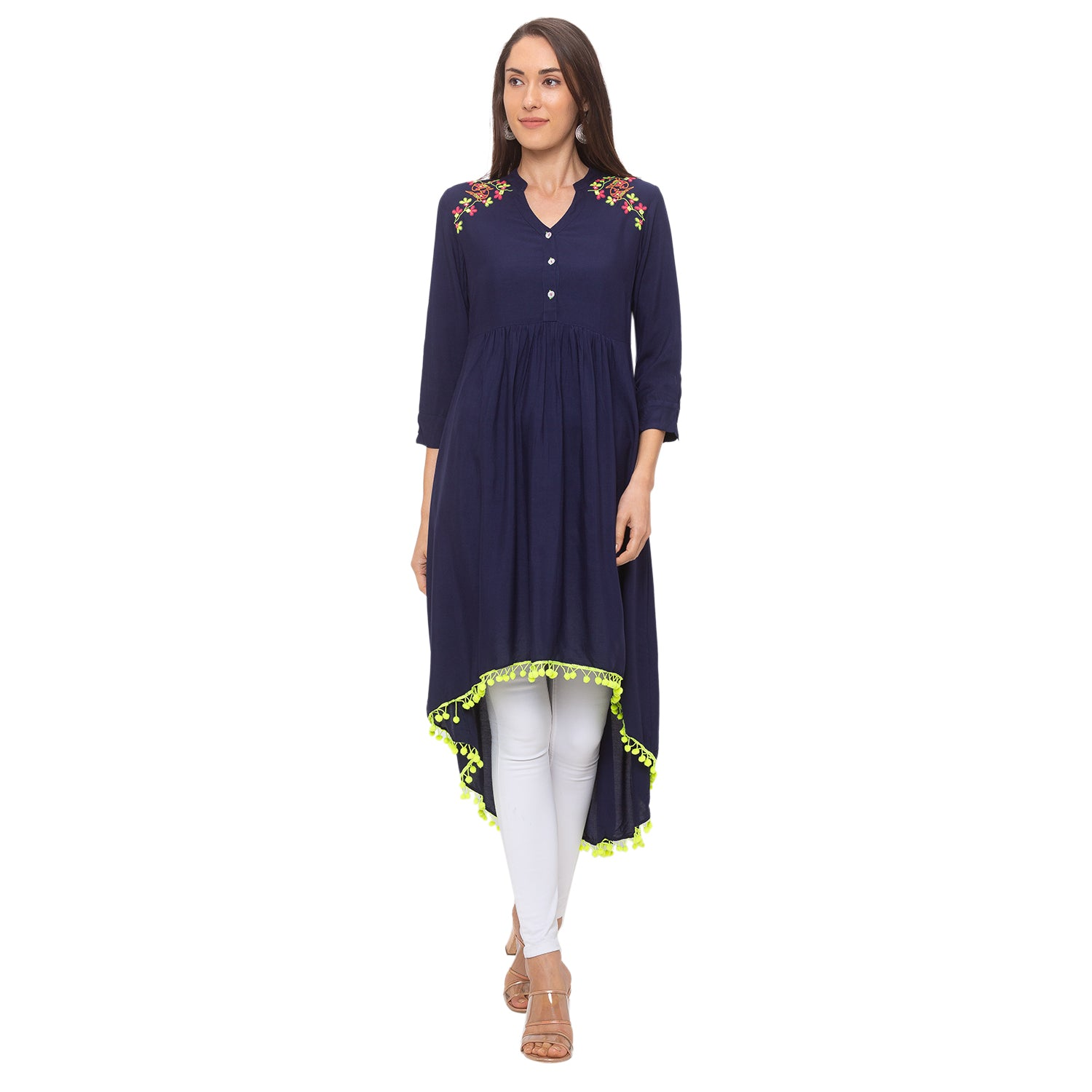 Globus Navy Blue Embroidered Tunic-1