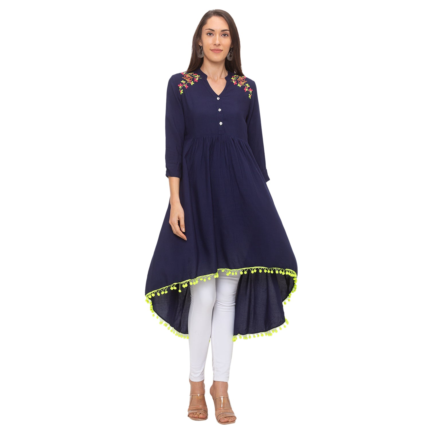 Globus Navy Blue Embroidered Tunic-4