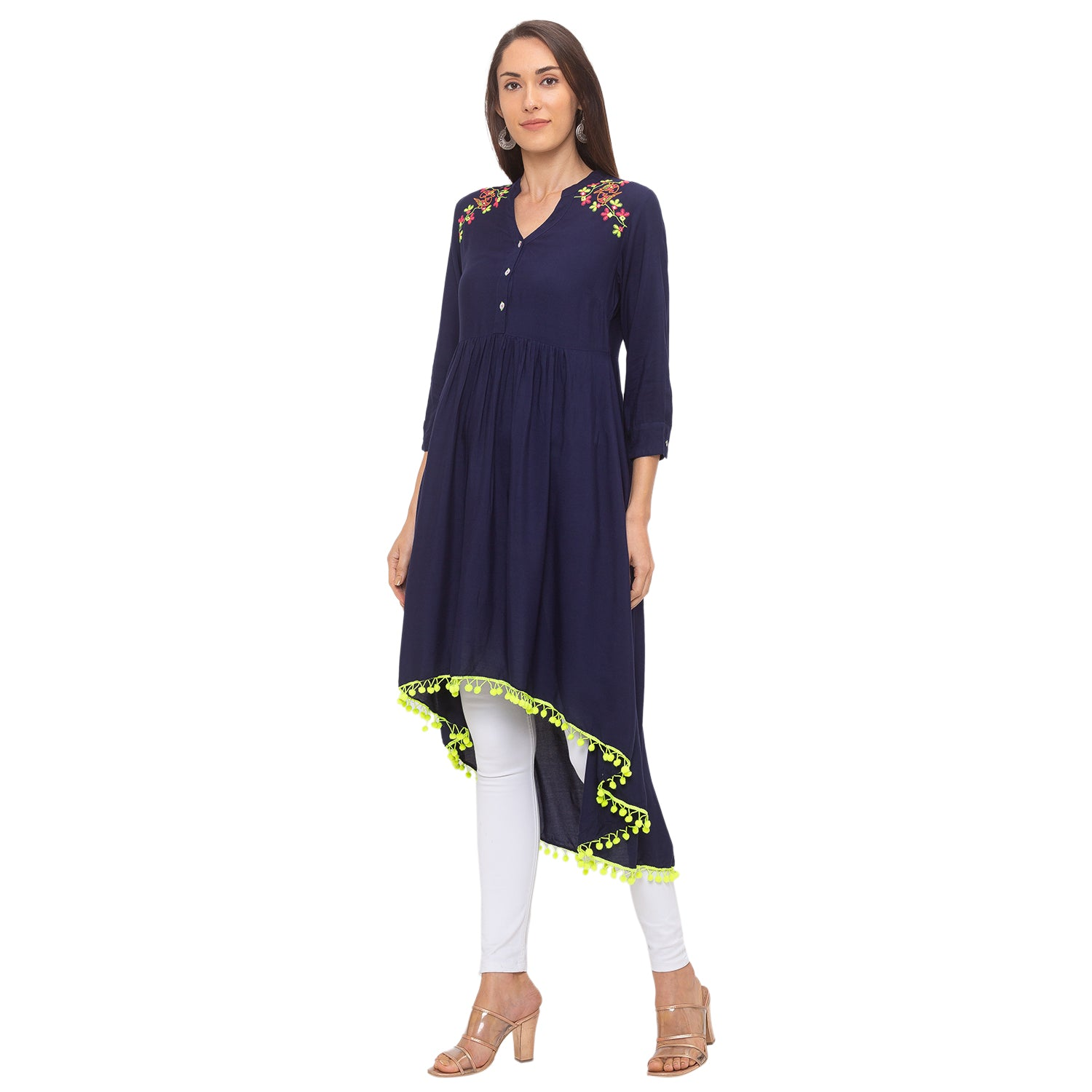 Globus Navy Blue Embroidered Tunic-2