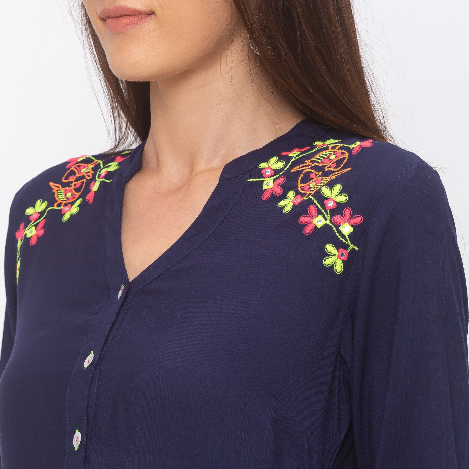 Globus Navy Blue Embroidered Tunic-5