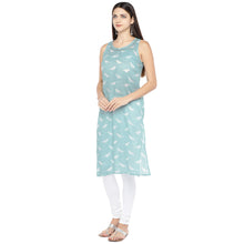 Load image into Gallery viewer, Blue & White Printed Straight Kurta-2