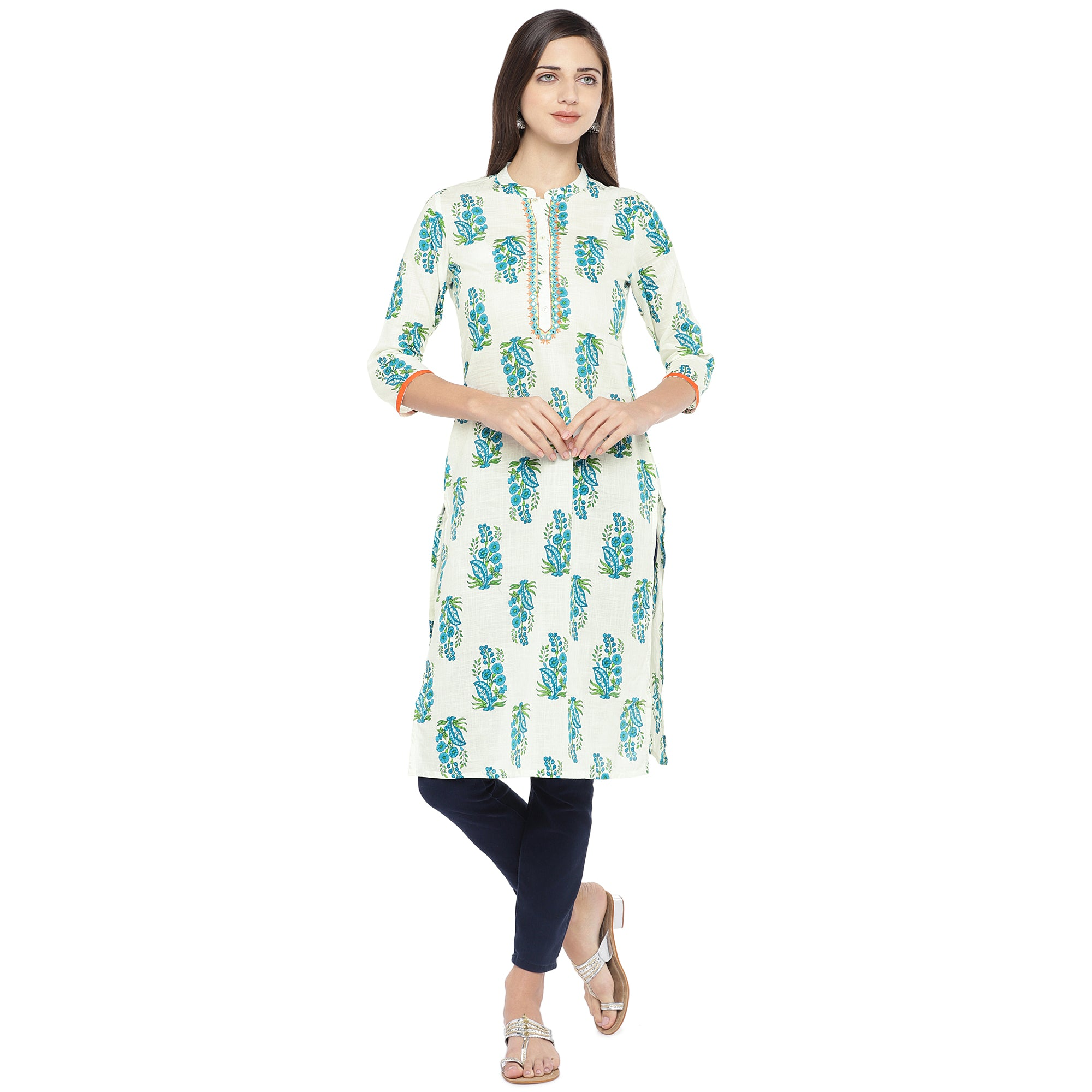 Blue & White Printed Straight Kurta-1
