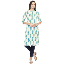 Load image into Gallery viewer, Blue & White Printed Straight Kurta-1
