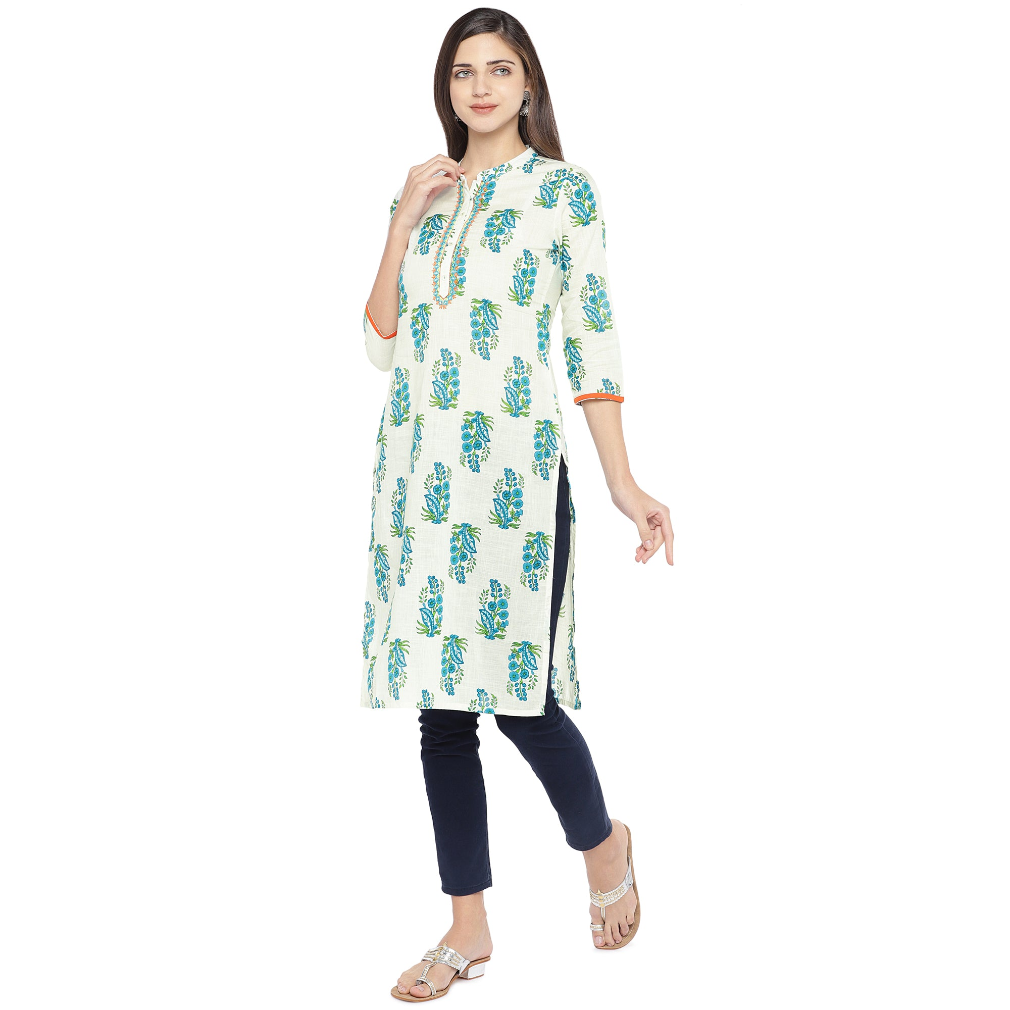 Blue & White Printed Straight Kurta-2