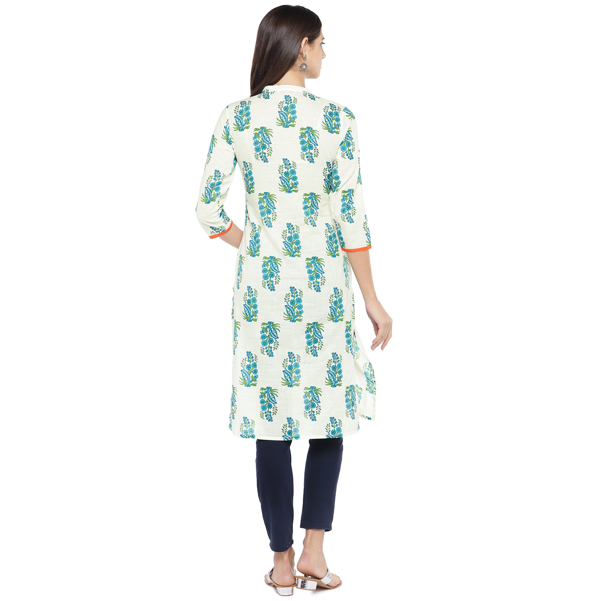 Blue & White Printed Straight Kurta-3
