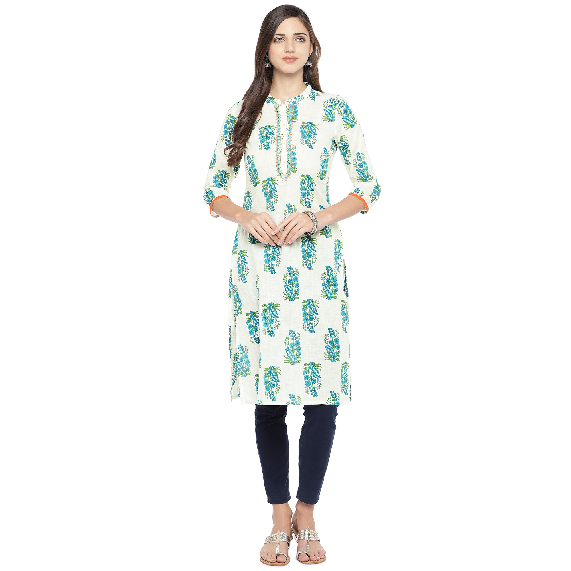 Blue & White Printed Straight Kurta-4