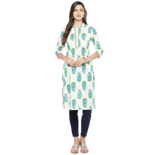 Load image into Gallery viewer, Blue & White Printed Straight Kurta-4