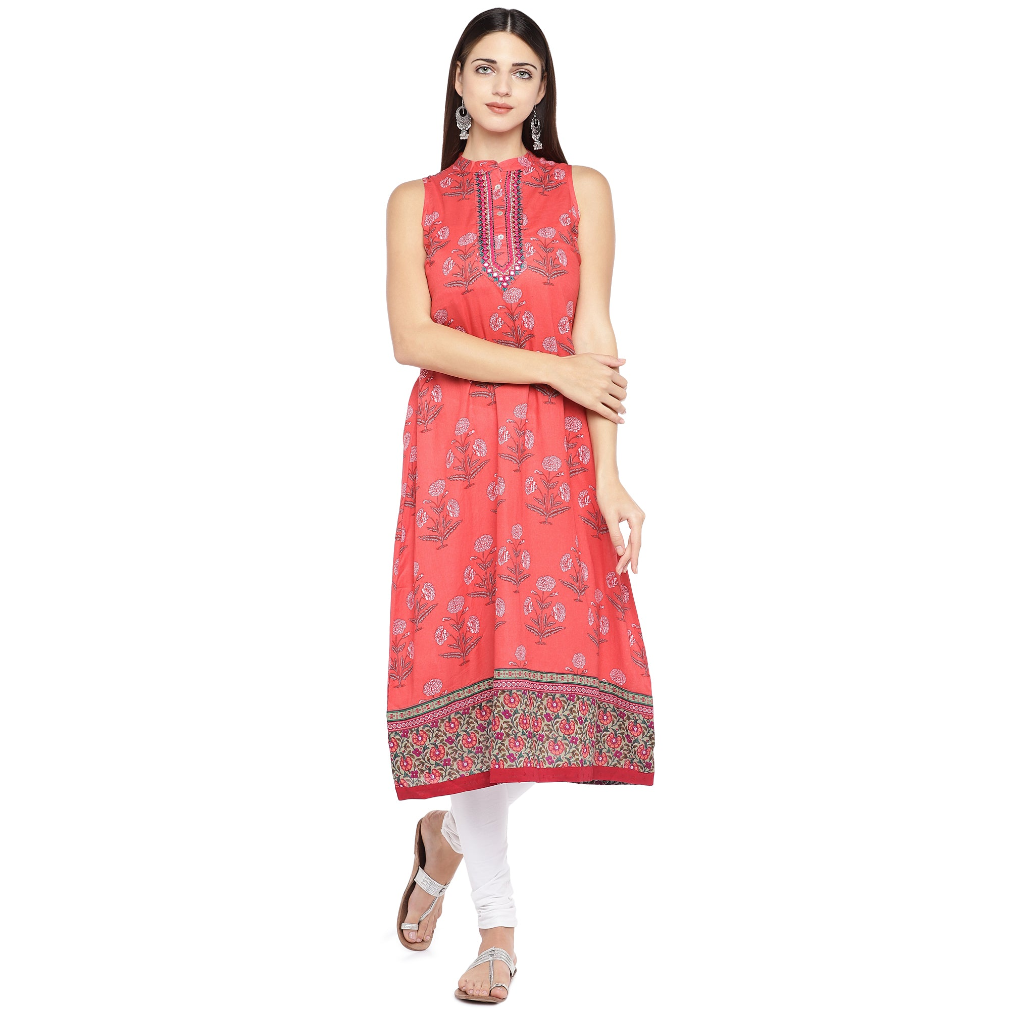 Peach-Coloured Printed A-Line Kurta-1
