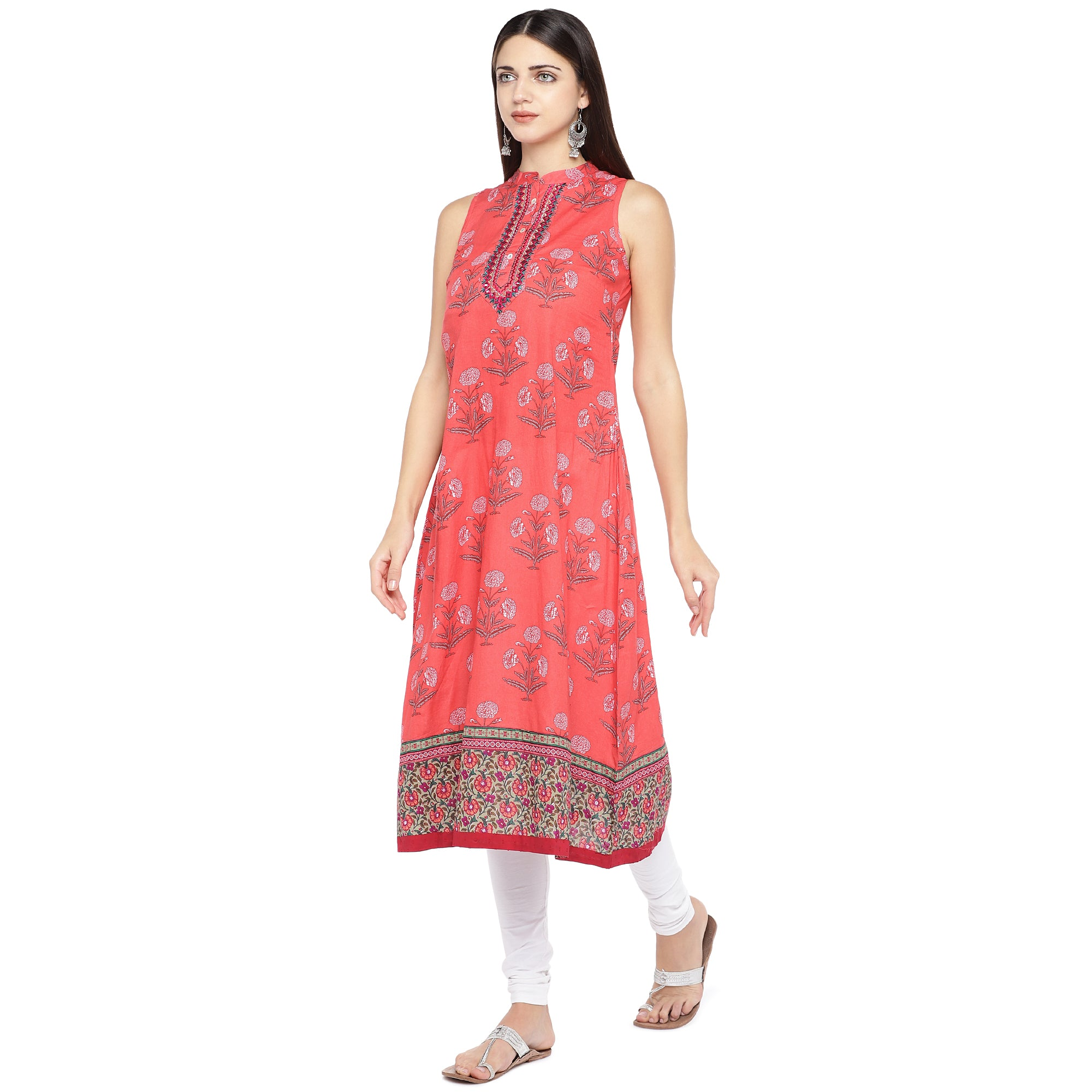 Peach-Coloured Printed A-Line Kurta-2