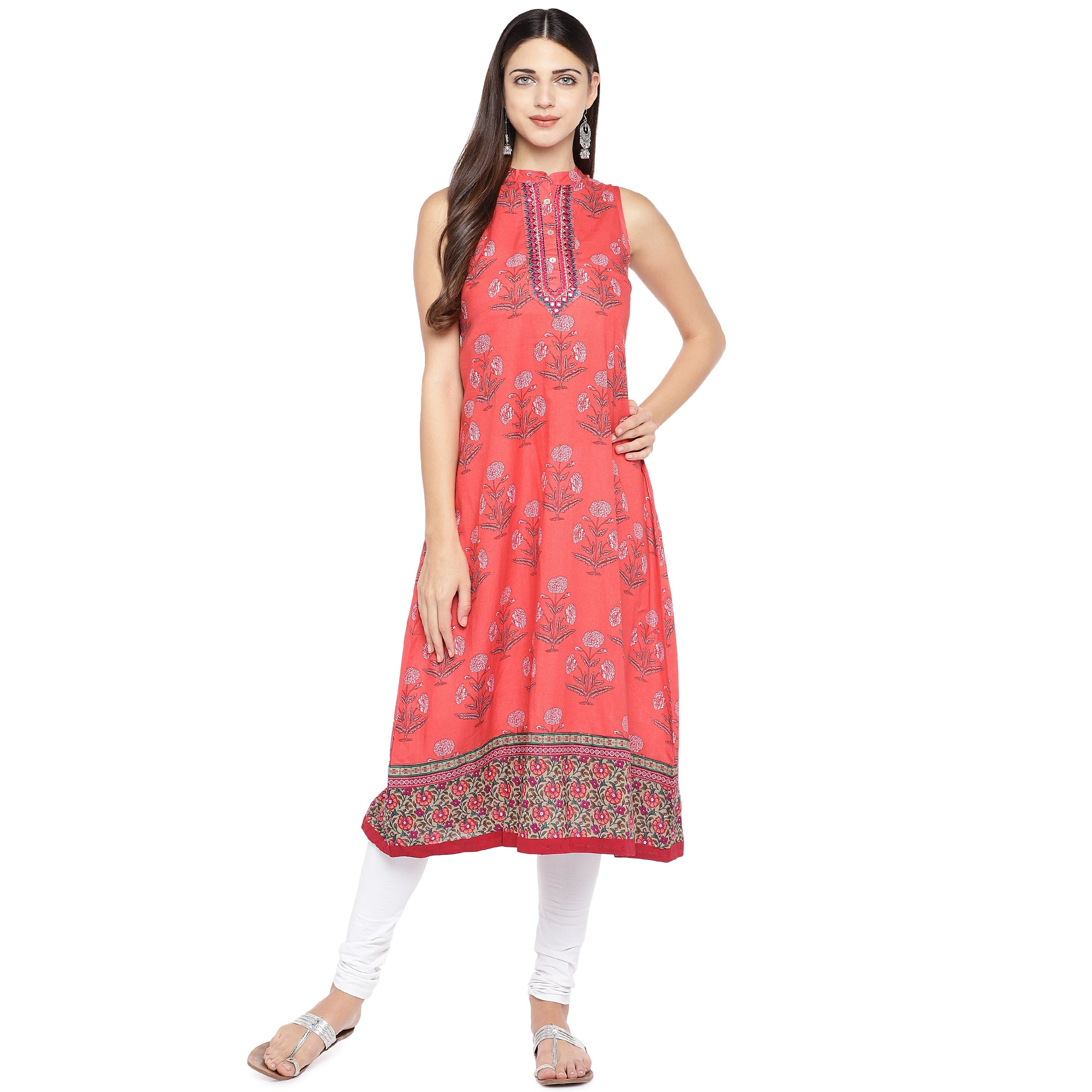 Peach-Coloured Printed A-Line Kurta-4