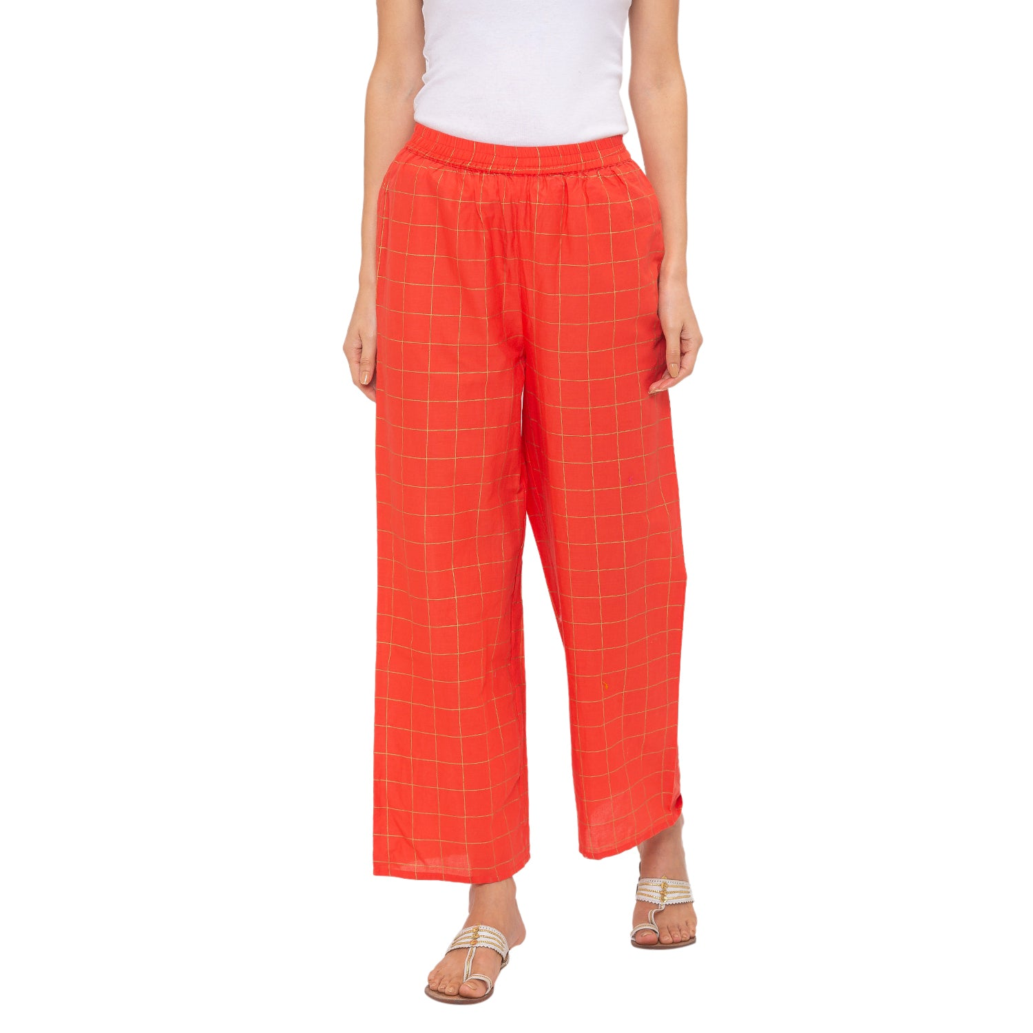 Globus Peach Checked Pants-1