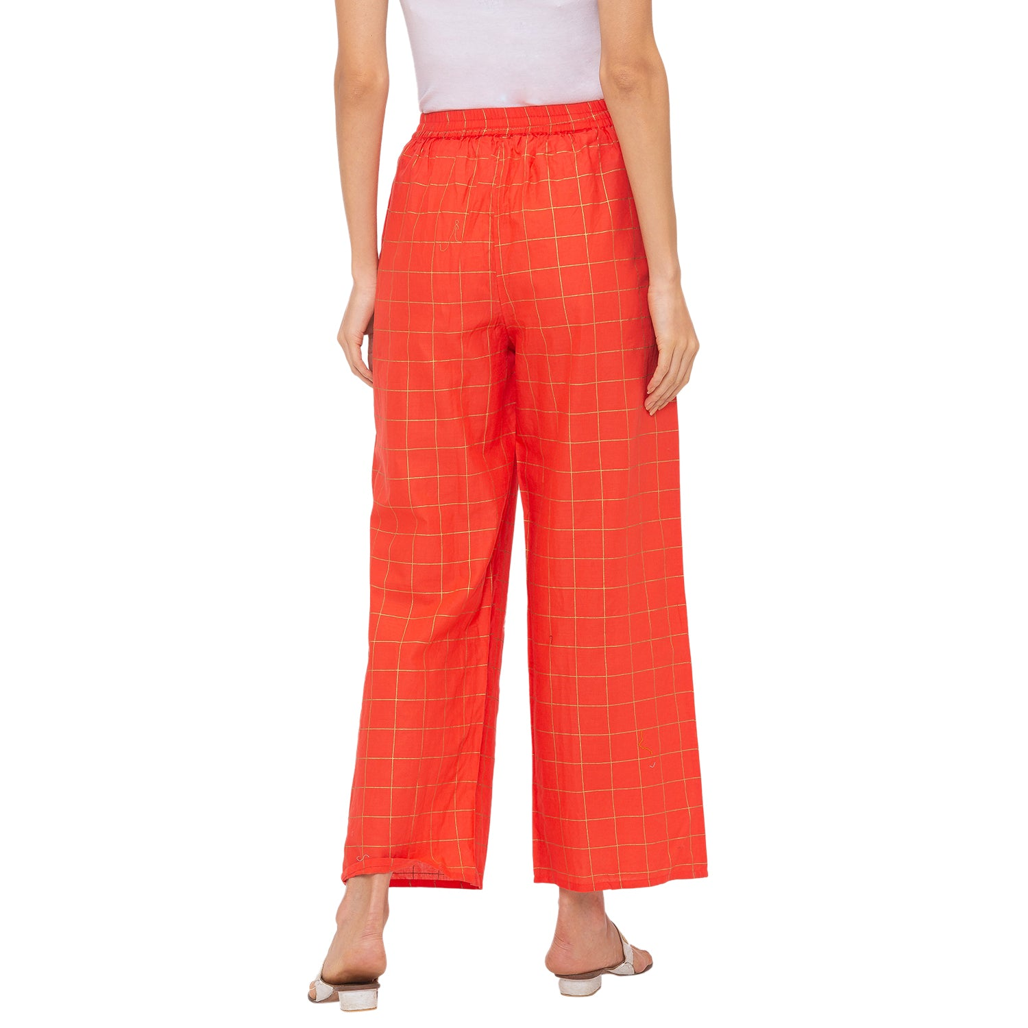 Globus Peach Checked Pants-3