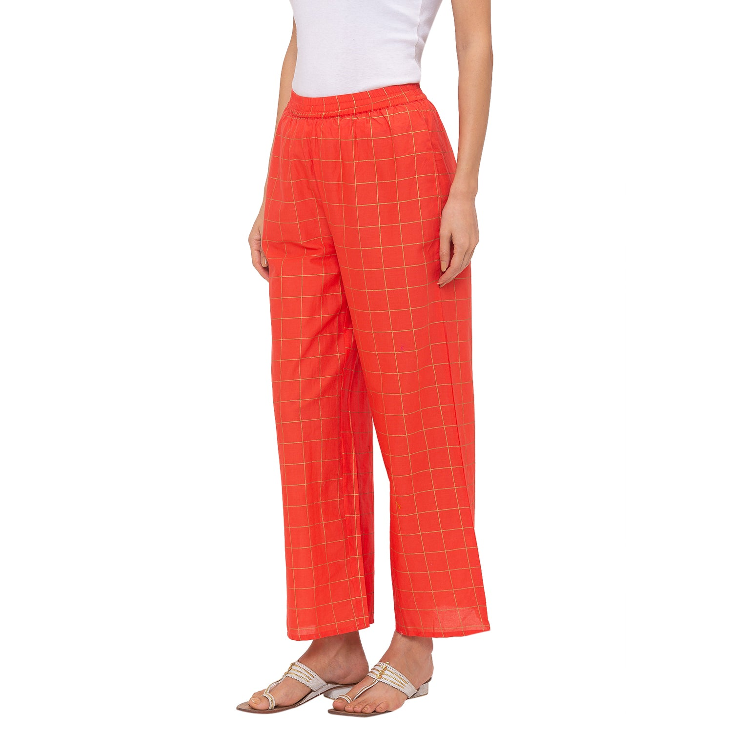 Globus Peach Checked Pants-2
