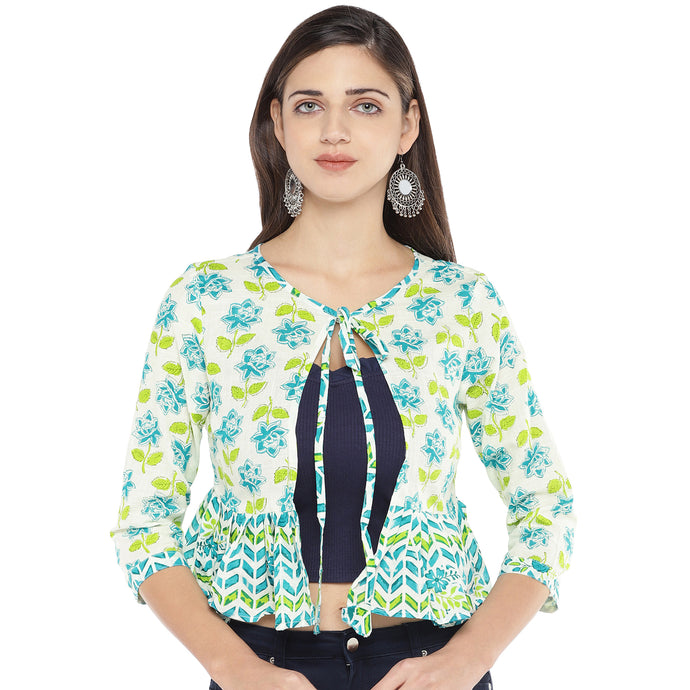 Blue & White Printed Tie-Up Shrug-1