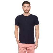 Load image into Gallery viewer, Globus Navy Blue Solid Henley T-Shirt1