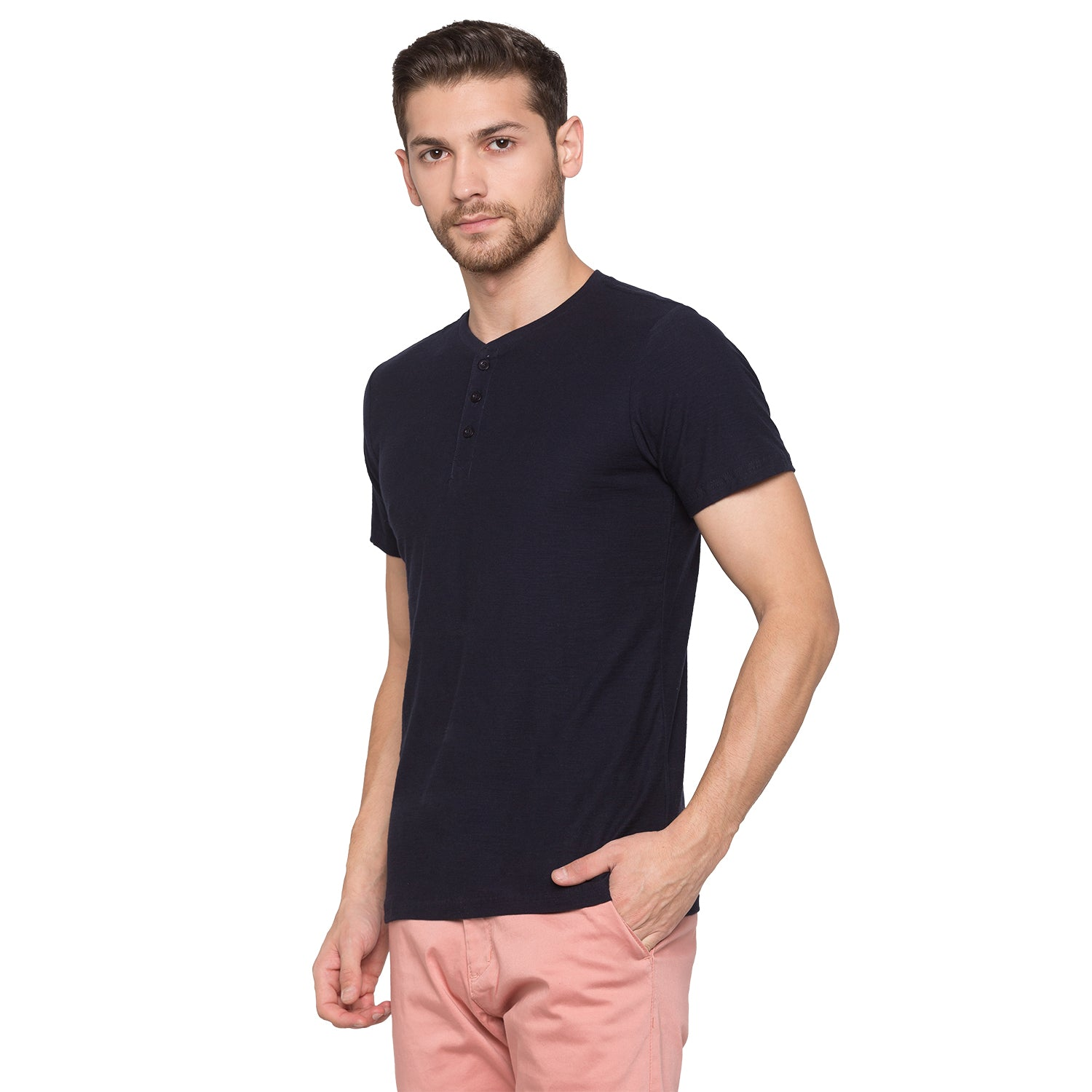 Globus Navy Blue Solid Henley T-Shirt2