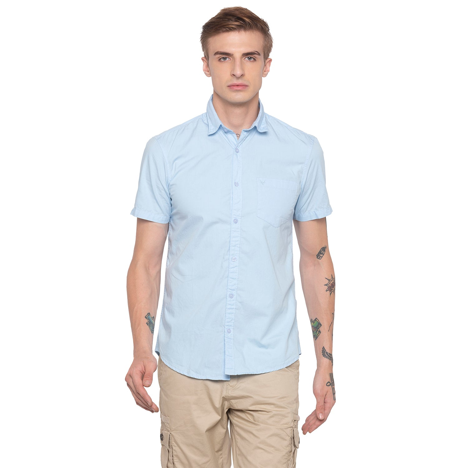 Solid Sky Blue Casual Shirt-1