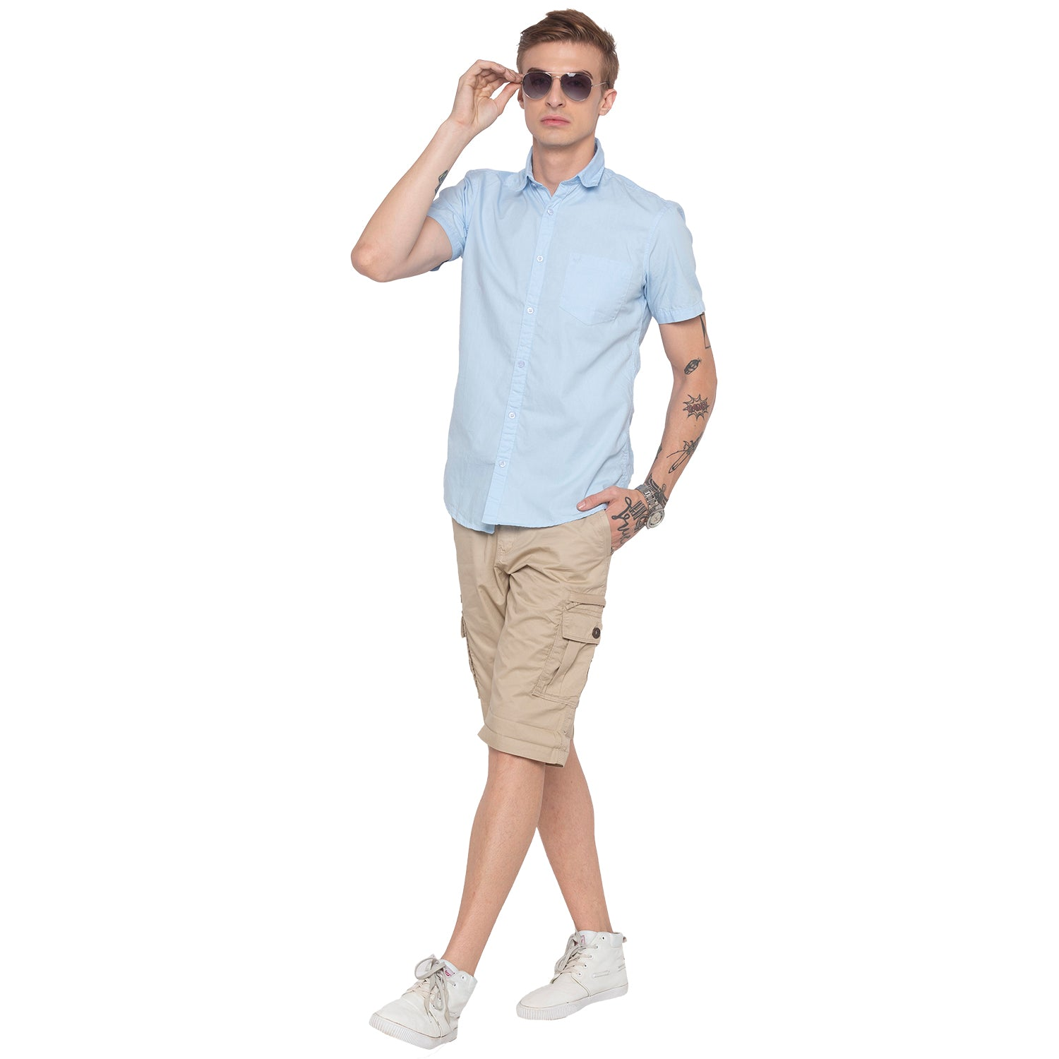 Solid Sky Blue Casual Shirt-4