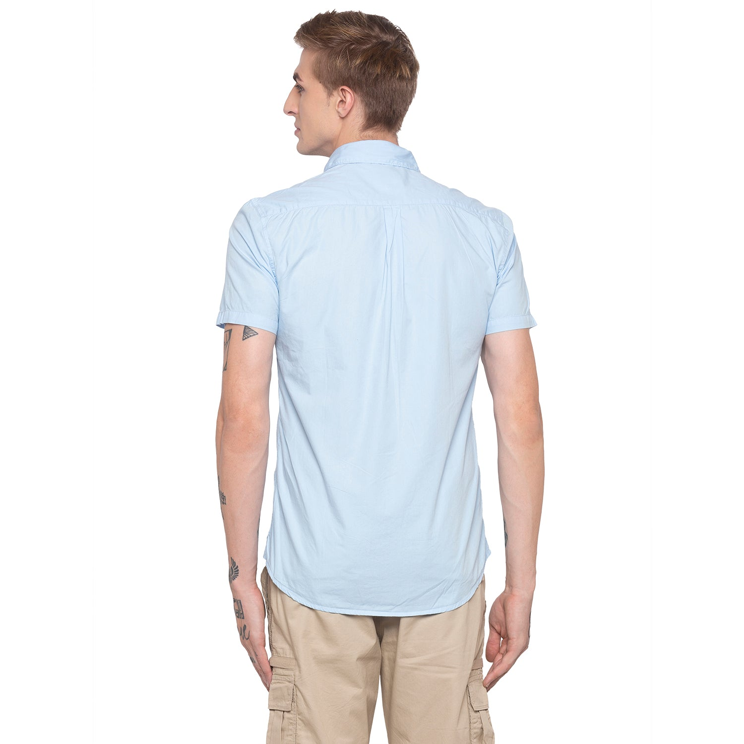 Solid Sky Blue Casual Shirt-3