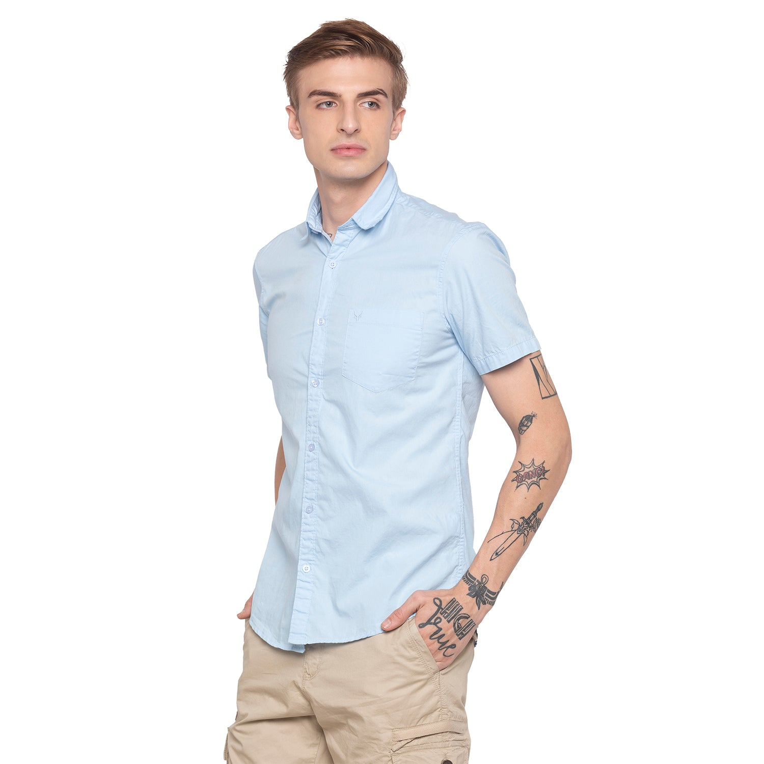 Solid Sky Blue Casual Shirt-2