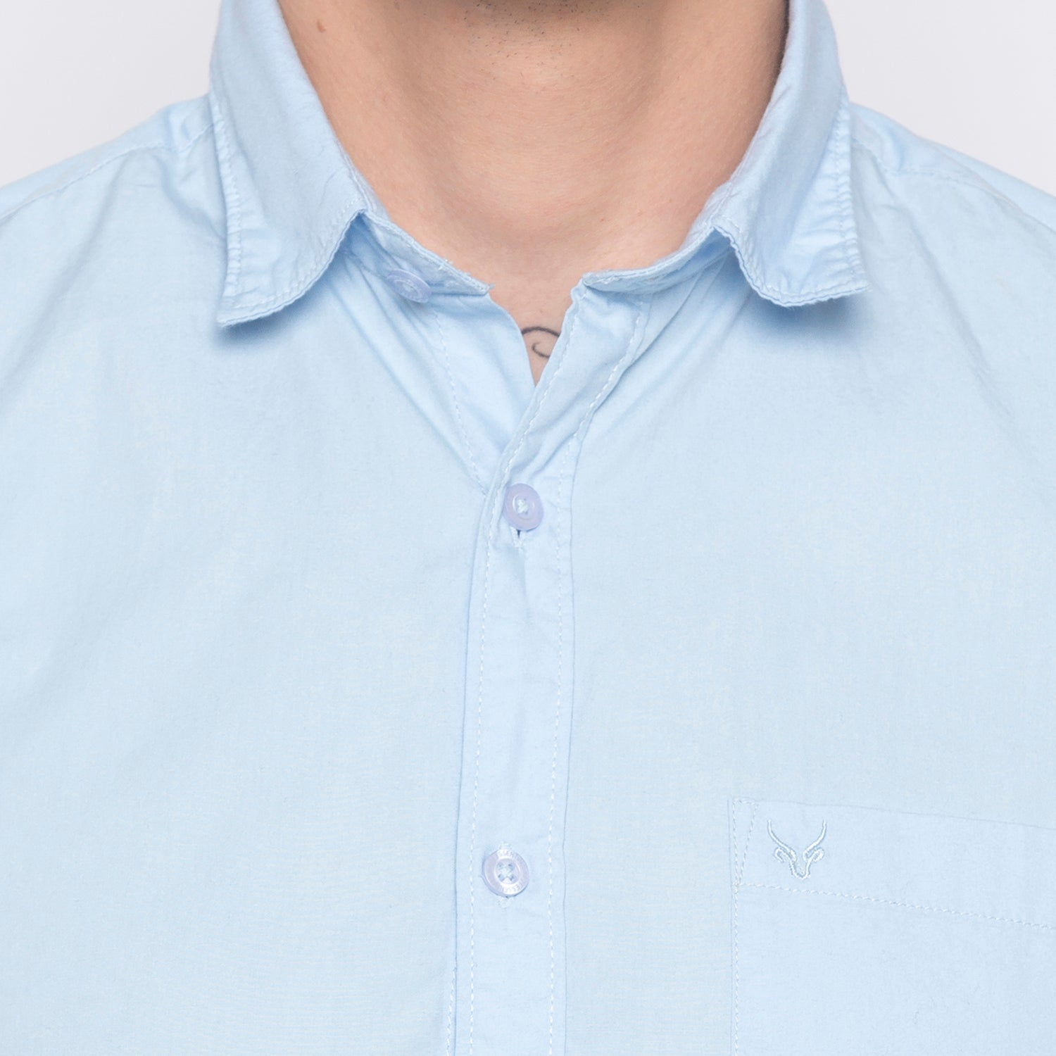 Solid Sky Blue Casual Shirt-5