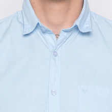 Load image into Gallery viewer, Solid Sky Blue Casual Shirt-5