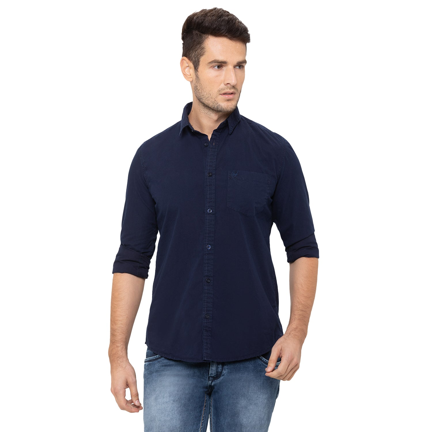 Globus Navy Blue Solid Shirt-1