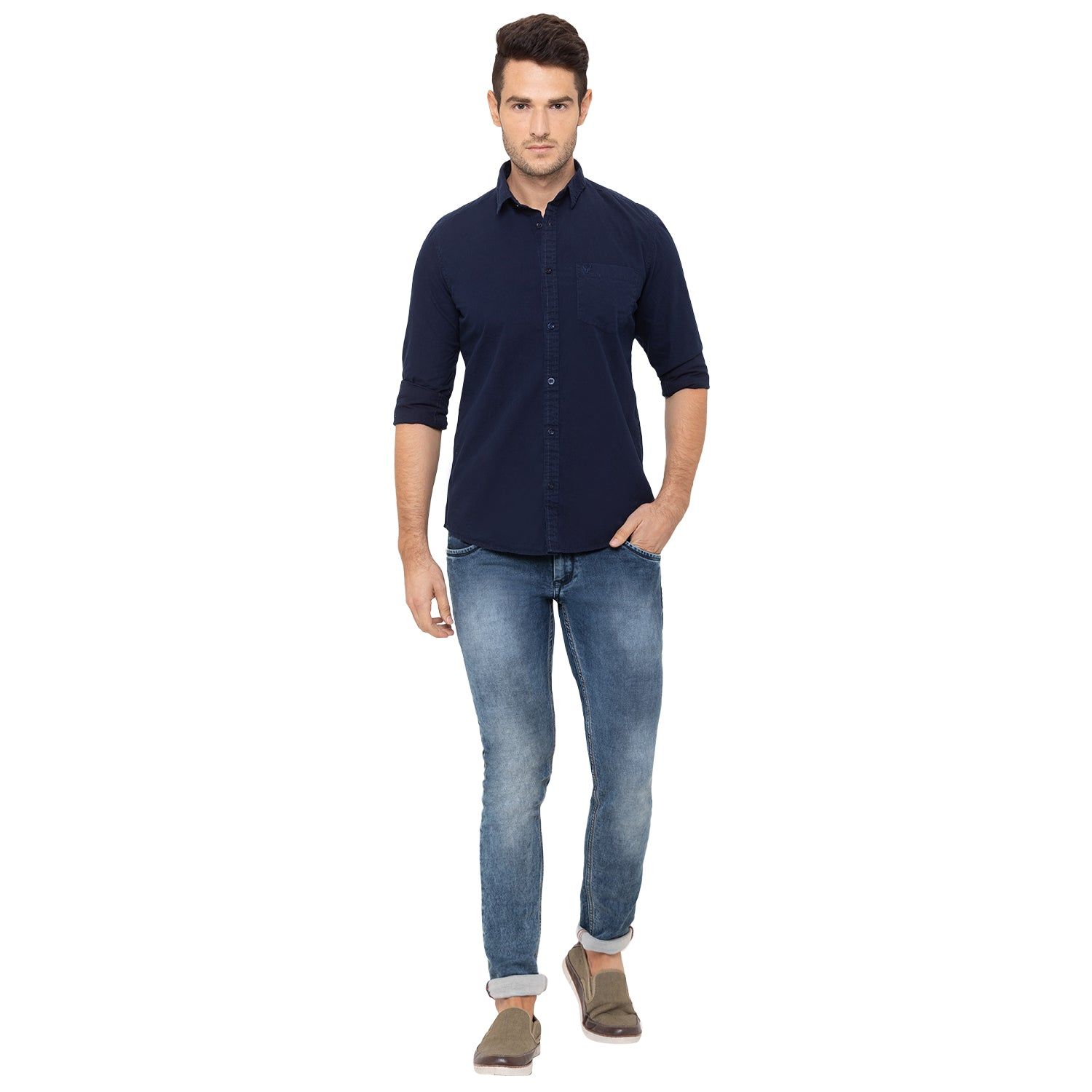 Globus Navy Blue Solid Shirt-2