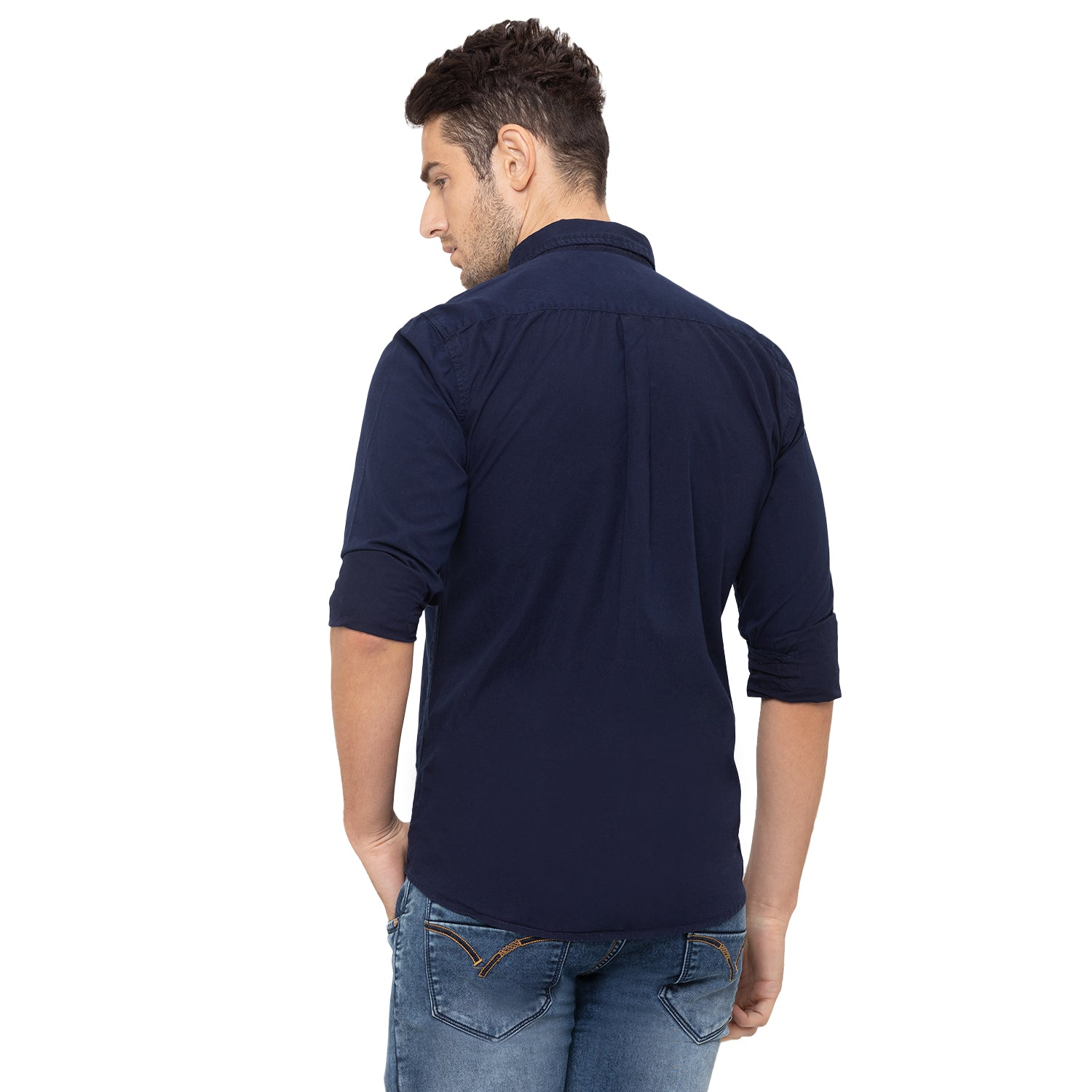 Globus Navy Blue Solid Shirt-3